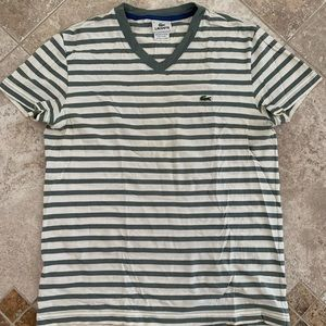 Men's Lacoste striped v neck t shirt, size 3 (xs)